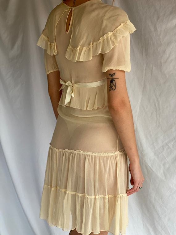 1930's Sheer Dress / Ethereal Garden Party Dress … - image 3
