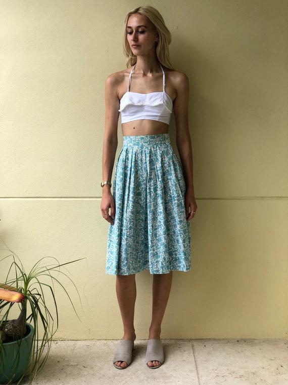 50's Skirt / Cotton Midi Skirt /  Novelty Farmer P