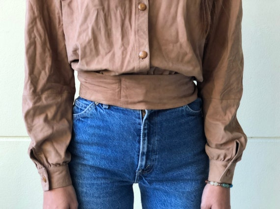 Vintage Valentino Leather Shirt / suede leather t… - image 4