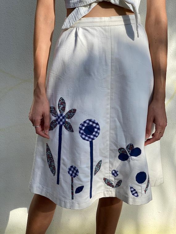 1970's Patchwork Skirt / Patchwork Quilt Butterfl… - image 5