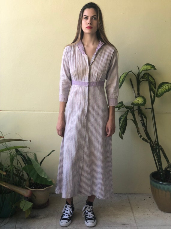 Antique Chore Dress / 1910's Cotton Workwear Dres… - image 7