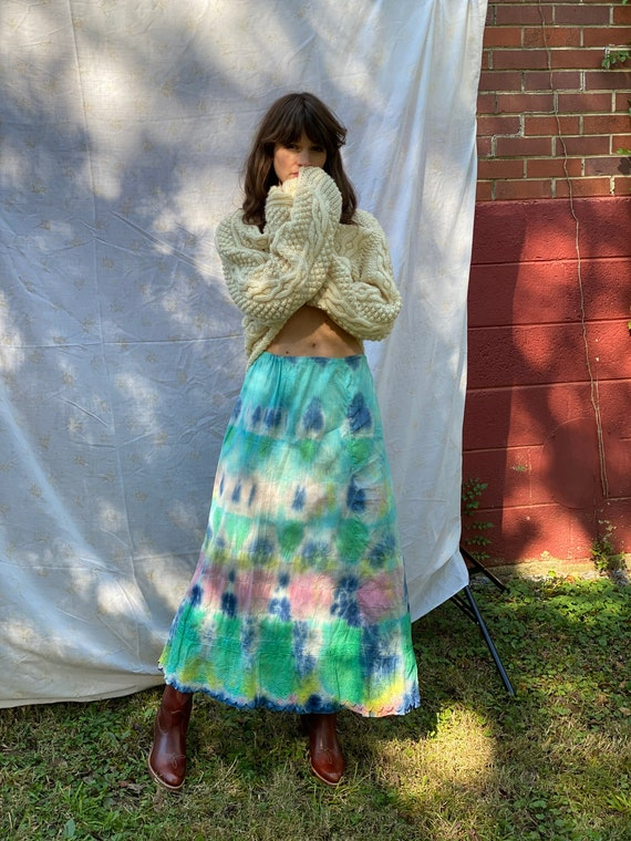 Antique Maxi Skirt / Victorian White Skirt / Tie D