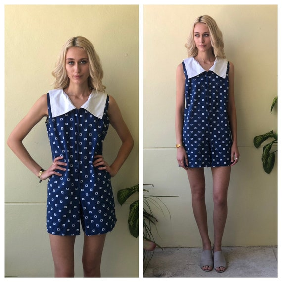 1960's Romper / Sixties Mod Onesie/ Blue and White