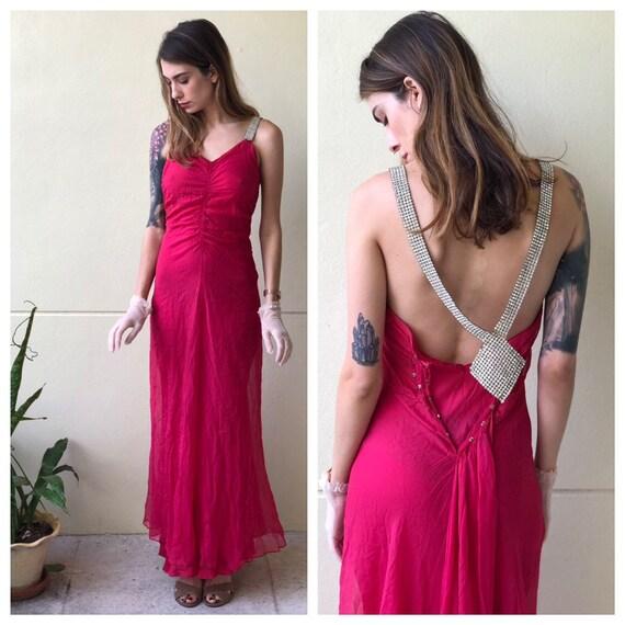 1930s Evening Gown / Magenta Tissue Silk Chiffon a