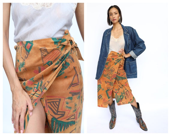 Leather Printed Skirt / Suede Wrap Skirt / Seventi