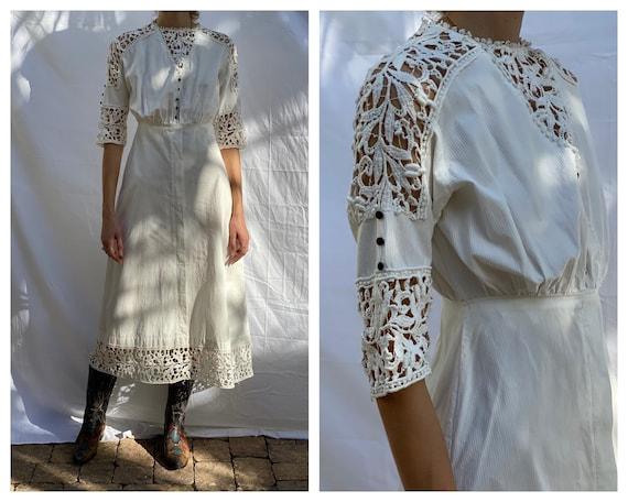 Antique Lawn Party Cotton Dress with Crochet Lace