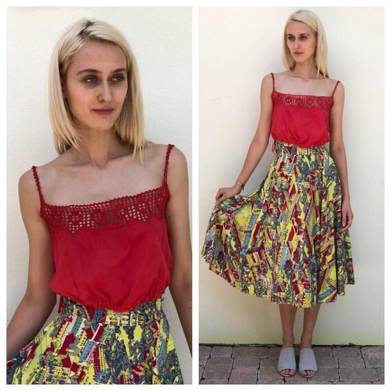 50's Skirt / Cotton Midi Skirt /  Novelty Town Par