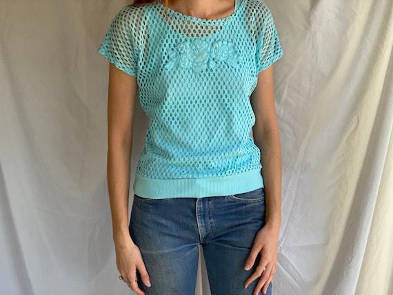 80's Mesh Shirt / Netted Sheer shirt / Mesh Summe… - image 1