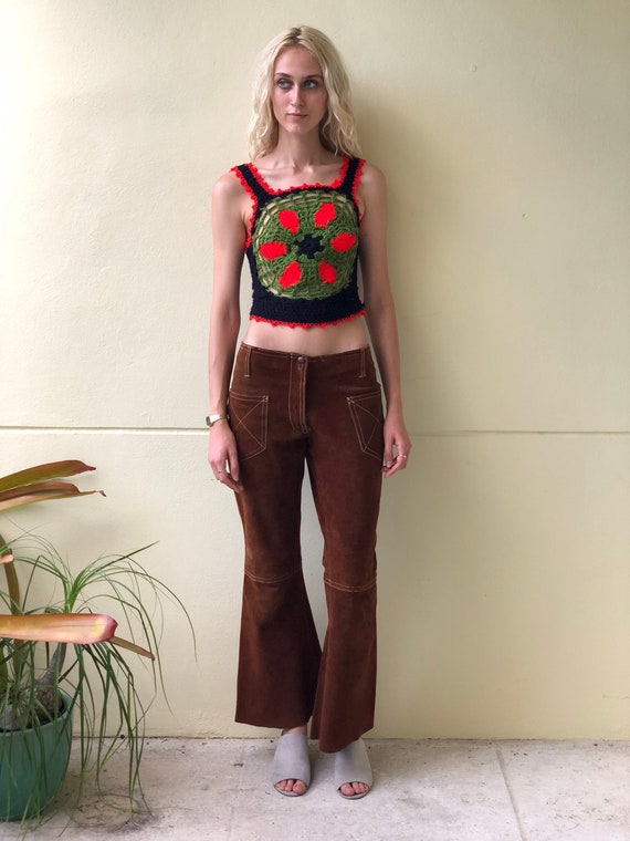 1970's Leather Pants / Seventies Brown Leather Jea