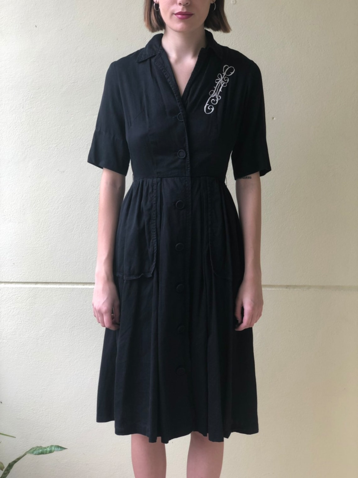 1950s Cotton Dress / Full Skirt Dress / Little Black Dress /