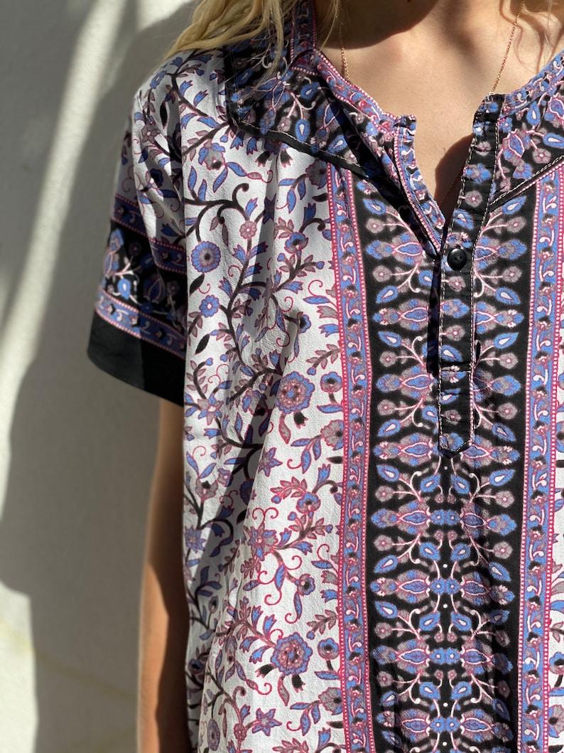 Vintage Tunic Dress  Oversized Cotton Tunic Shift  Shirt Dress  Indian Cotton Printed Dress  Summer Easy Dress