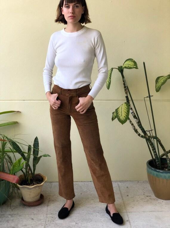 Vintage Suede Pants / Brown Leather Pants / Stagew