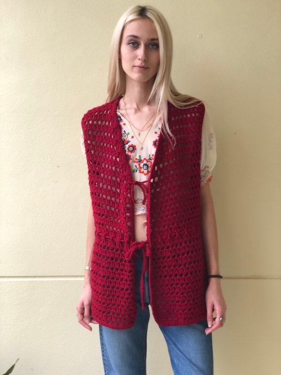 Vintage Sweater Vest / Open Knit 60s Crochet / Kn… - image 4