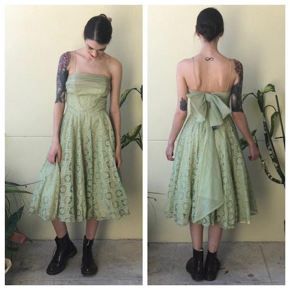1950's Party Dress / Deadstock Mint Green Lace Tul