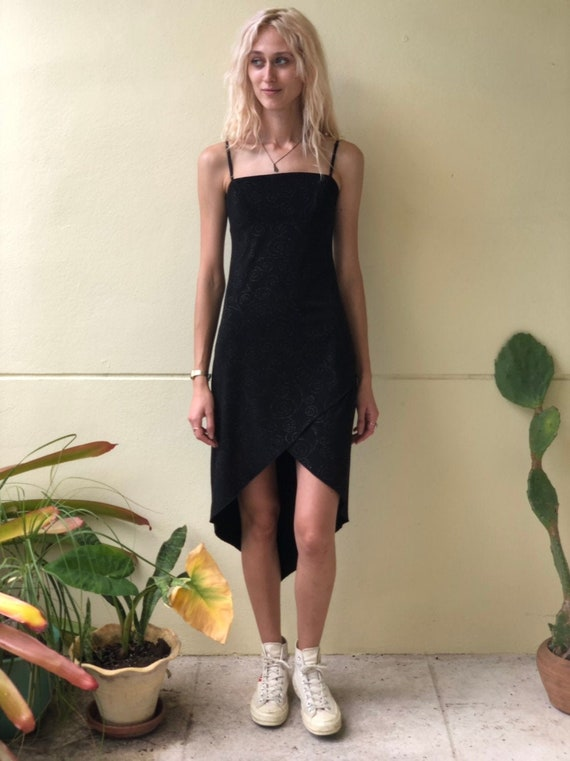 90s Slip Dress / Black Glitter Swirly Print / Stra