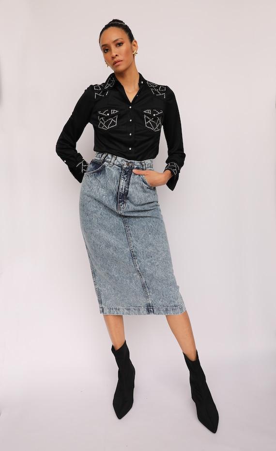 80s Acid Wash Denim Skirt / Jordache High Waisted… - image 2