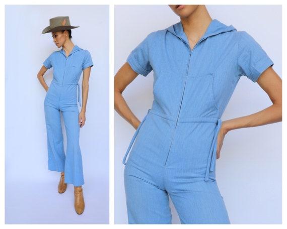 Vintage 70s Jumpsuit / Hooded Denim Onesie / Summe