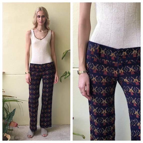 1970's Knit Pants / Bell Bottoms / Super Low Waist