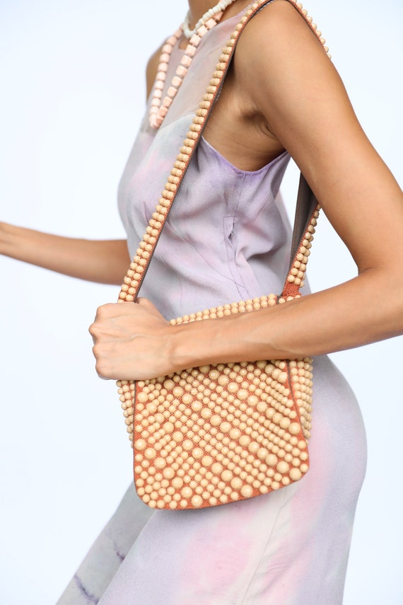 1960's Beaded Handbag / Plastic Purse / Sixties Mo