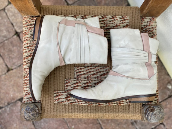 1980's Leather Boots / Rose Gold and Cream Winter