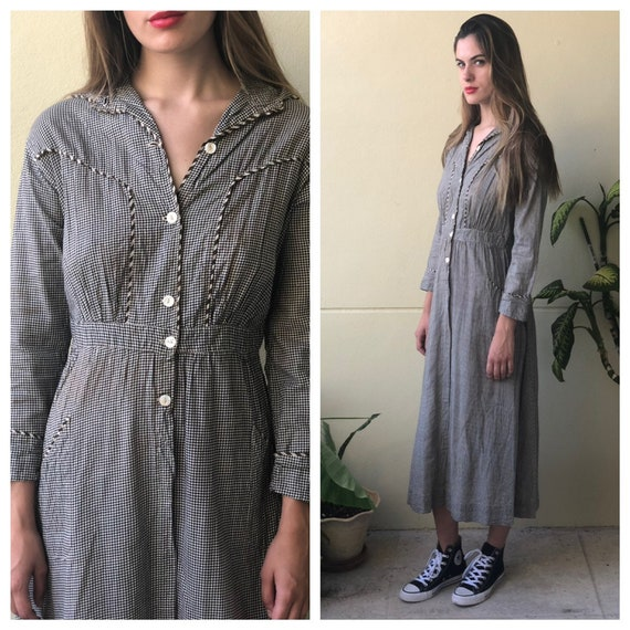 Antique Dress / 1910's Cotton Workwear Dress / Che