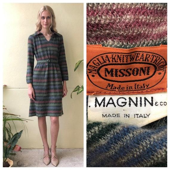 1970s Missoni Dress / Italian Wool Knit Dress / Au