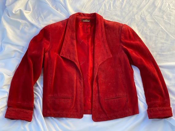 Vintage Suede Jacket / 1970's Brick Red Suede Leat