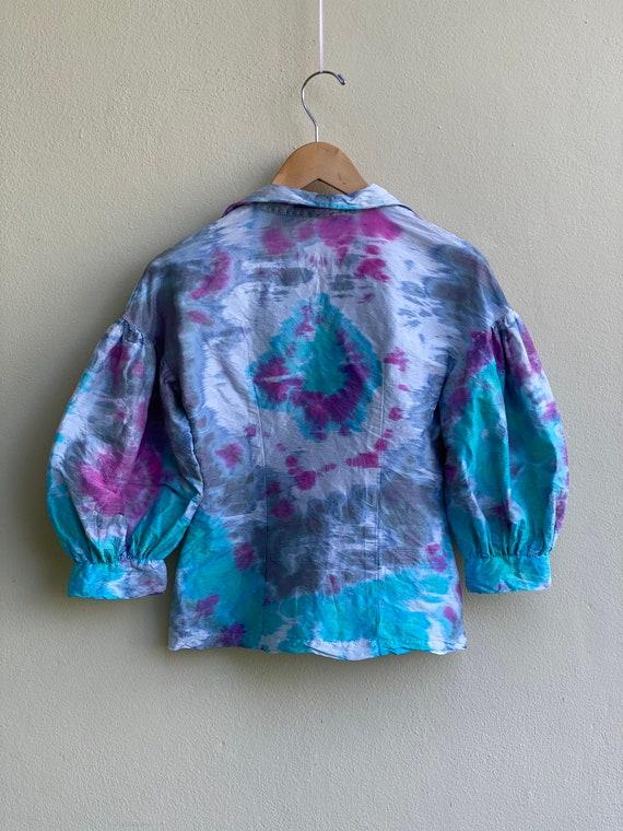 Puffed Sleeves Blouse / Vintage Tie-Dye Collar Blo