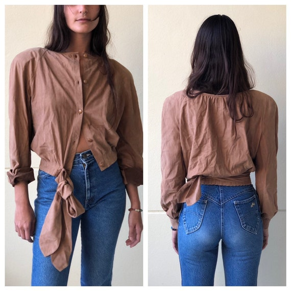 Vintage Valentino Leather Shirt / suede leather t… - image 10