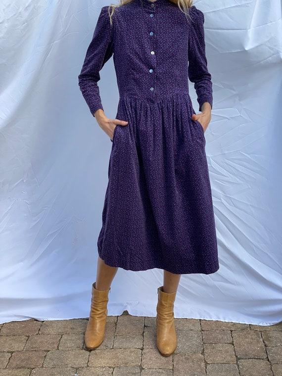 Nineties Laura Ashley Dress / Floral Corduroy Dre… - image 8
