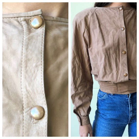 Vintage Valentino Leather Shirt / suede leather t… - image 8