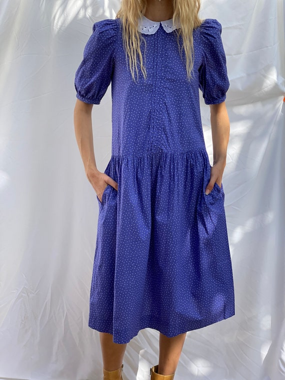 Drop Waist 90's Dress / Laura Ashley Dress / Puff… - image 9
