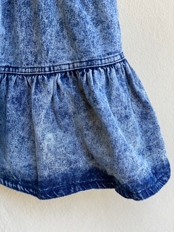 1980s Acid Wash Denim Skirt / High Waisted Tiered… - image 3