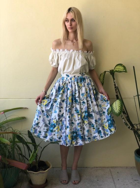 50's Skirt / Cotton Midi Skirt /  Watercolor Flora
