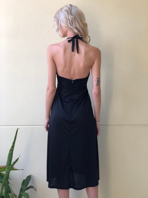 1970's Party Dress / Rhinestone Halter Cocktail D… - image 6