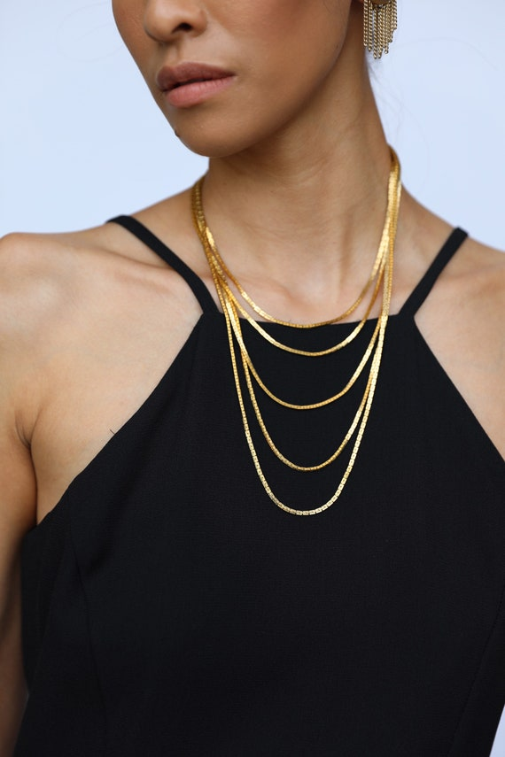 1970's Gold Statement Necklace / Layered GOLD CHAI