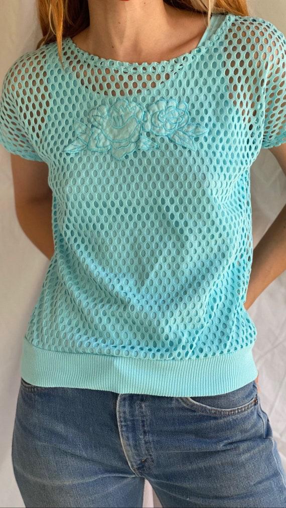 80's Mesh Shirt / Netted Sheer shirt / Mesh Summe… - image 9