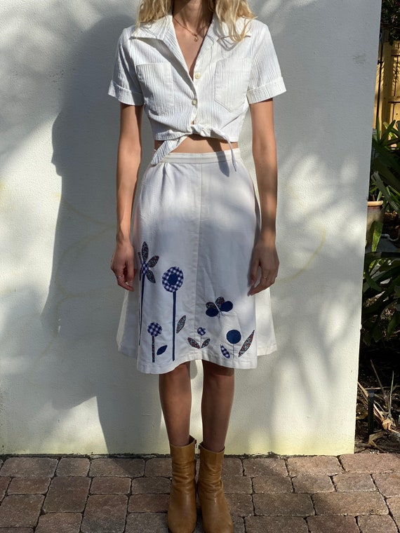 1970's Patchwork Skirt / Patchwork Quilt Butterfl… - image 2