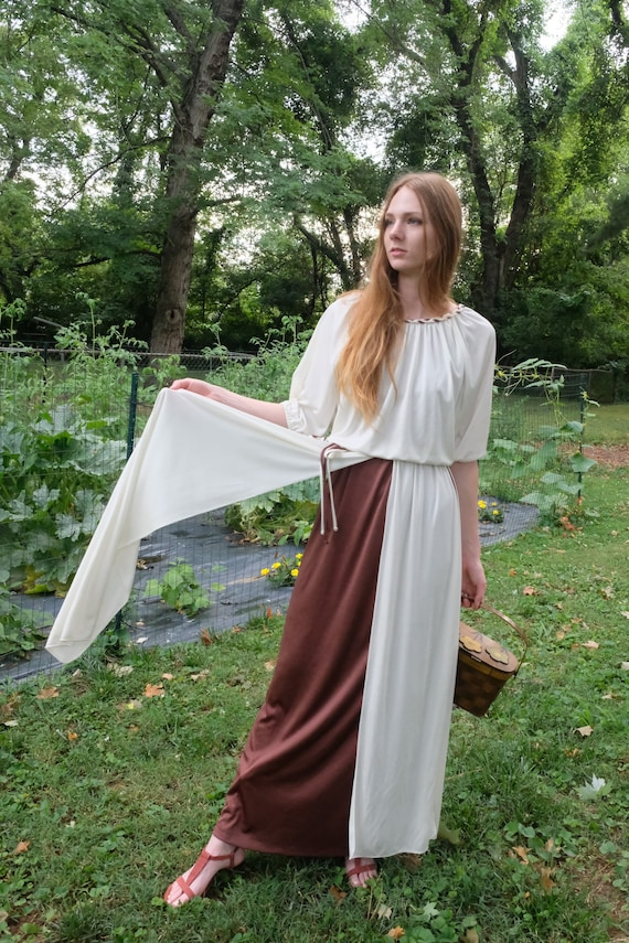 1970s Maxi Dress / Haute Hippie Evening Gown with