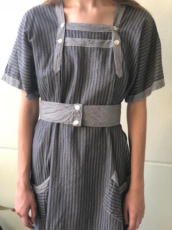 Antique Chore Dress / 1910's Cotton Workwear Tuni… - image 2