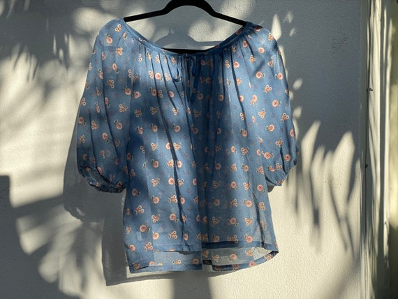 1970's Blouse / Puff Sleeved Cotton Shirt / Semi S