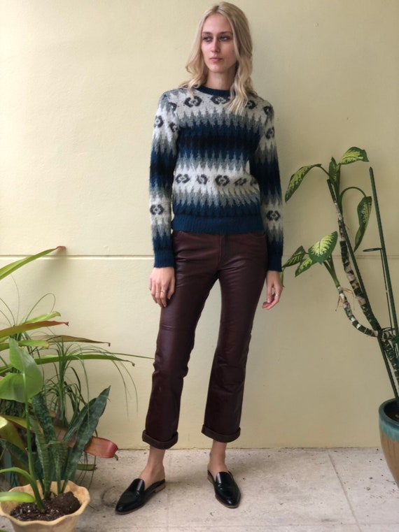 Vintage Leather Pants / Brown Leather Low Slung Pa
