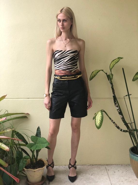 Vintage Leather Shorts / High Waist Shorts / Black