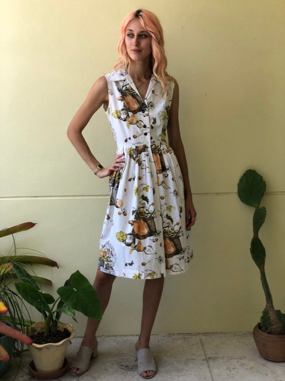 50s Novelty Dress / Rare Novelty Print / Fifties … - image 5