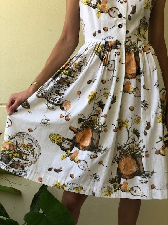 50s Novelty Dress / Rare Novelty Print / Fifties … - image 6