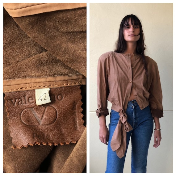 Vintage Valentino Leather Shirt / suede leather t… - image 1