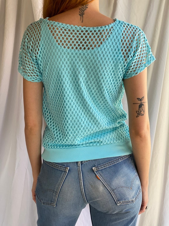 80's Mesh Shirt / Netted Sheer shirt / Mesh Summe… - image 8
