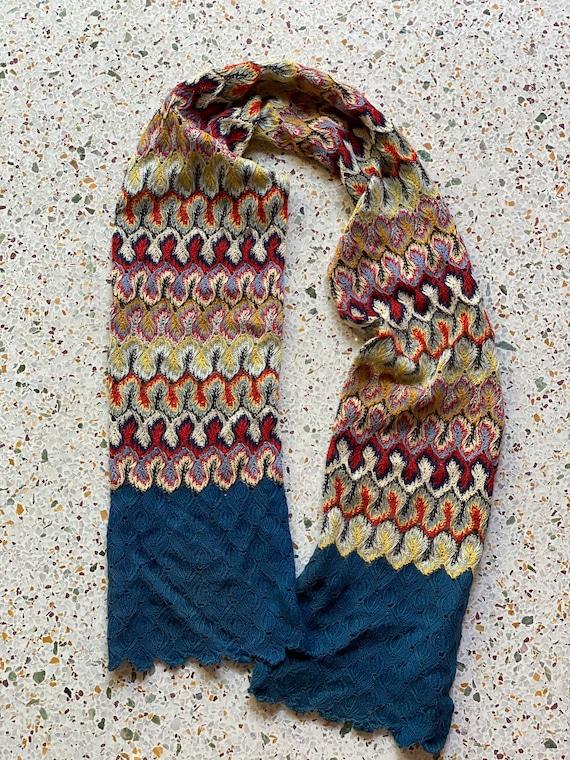 1930's Knit Scarf / Art Deco / Christmas Present /