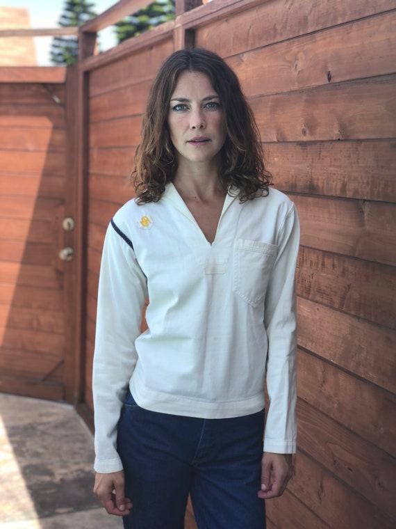 1940s Navy Shirt / Sailor Top / Sailor Collar / On