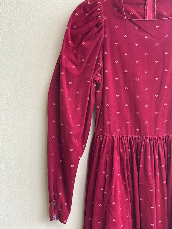 1990s Red Floral Corduroy Dress / Laura Ashley Dr… - image 6